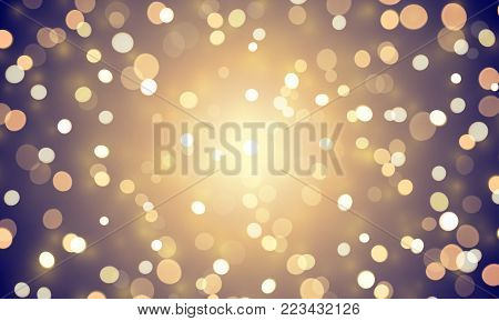 Abstract Light Confetti With Glitter Glow Effect On Golden Background. Vector Defocused Shine Or Gol