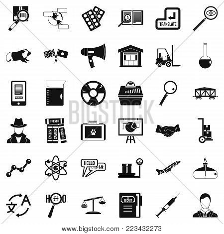 Scientific instrument icons set. Simple set of 36 scientific instrument vector icons for web isolated on white background
