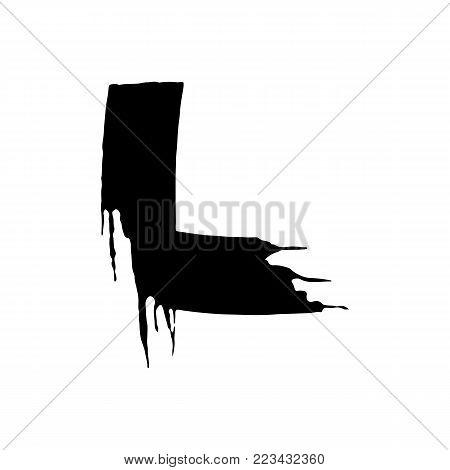 Letter L. Handwritten by dry brush. Rough strokes font. Vector illustration. Grunge style elegant alphabet