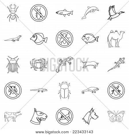 Proud animal icons set. Outline set of 25 proud animal vector icons for web isolated on white background