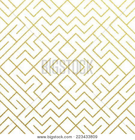 Silver Abstract Geometric Pattern Background With Glitter Texture. Vector Seamless Pattern Or Rhombu