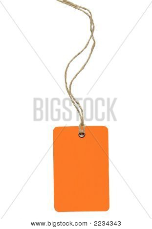 Orange Label With Lace Isolated On White