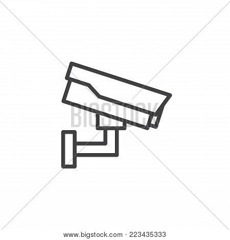 Security cctv line icon, outline vector sign, linear style pictogram isolated on white. Surveillance camera symbol, logo illustration. Editable stroke