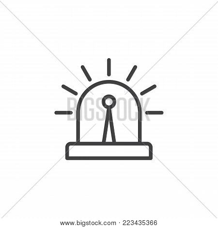 Flasher alarm light line icon, outline vector sign, linear style pictogram isolated on white. Security and surveillance system symbol, logo illustration. Editable stroke