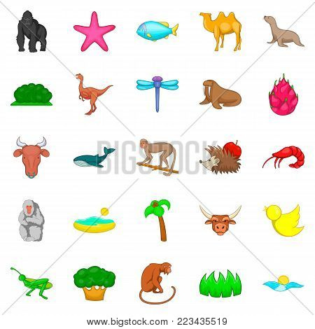 Herbivore icons set. Cartoon set of 25 herbivore vector icons for web isolated on white background