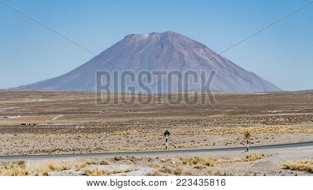 Arequipa, Peru - August 2017: El Misti volcano above Arequipa on a sunny day, Peru