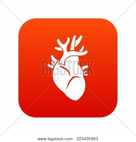 Heart icon digital red for any design isolated on white vector illustration