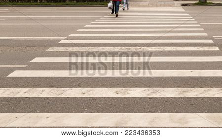 Passage of pedestrian crossing on the road .