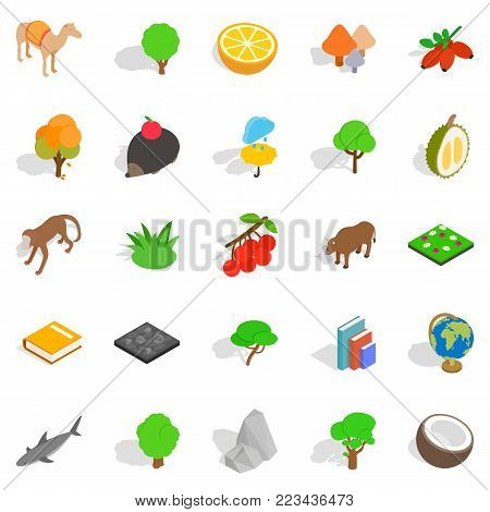 Forest life icons set. Isometric set of 25 forest life vector icons for web isolated on white background