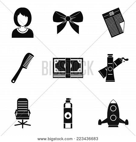 Stylist icons set. Simple set of 9 stylist vector icons for web isolated on white background