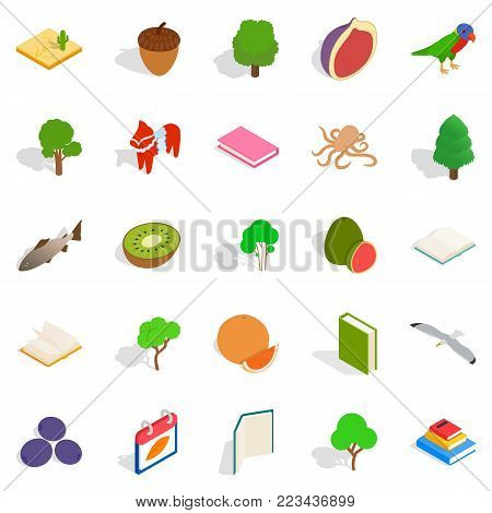 Recycling timber icons set. Isometric set of 25 recycling timber vector icons for web isolated on white background