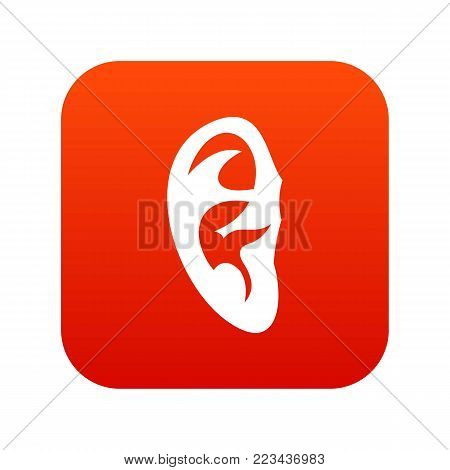 Ear icon digital red for any design isolated on white vector illustration