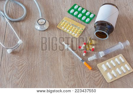 Pharmacy background on table Pills. Medicine and healthy. Close up of capsules