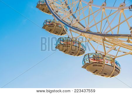 LONDON, UNITED KINGDOM - NOVEMBER 07: Close up of the London Eye ferris wheel, a famous attraction and landmark on November 07, 2017 in London