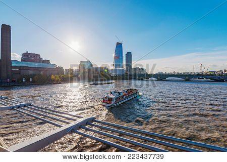 LONDON, UNITED KINGDOM - NOVEMBER 06: View of River Thames taken from the famous Millenium Bridge on November 06, 2017 in London