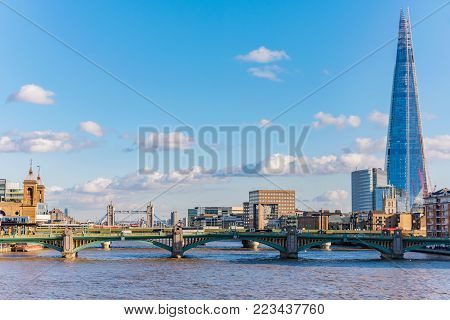 LONDON, UNITED KINGDOM - NOVEMBER 06: City view of the River Thames and The Shard building on November 06, 2017 in London