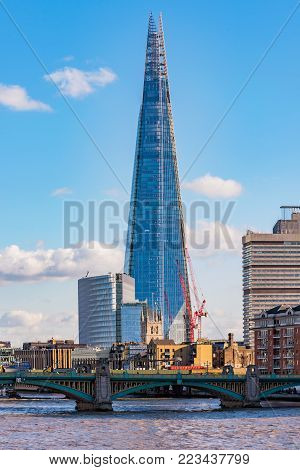 LONDON, UNITED KINGDOM - NOVEMBER 06: Modern architecture of The Shard building, a famous landmark in the City Of London area on November 06, 2017 in London