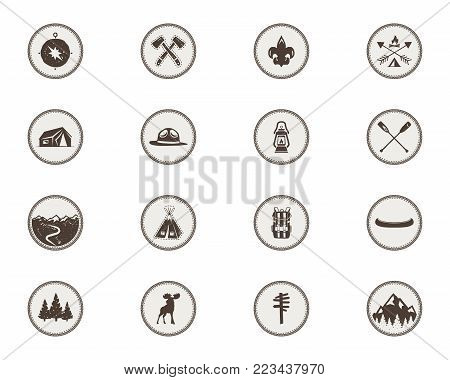Boy scouts icons, patches. The full bundle. Camping stickers. Tent symbol, moose pictogram, backpack elements, canoe, mountains, and others. Stock vector stamps isolated on white background