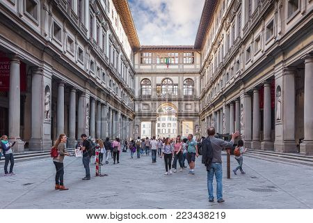 Florence, Italy - April 10, 2017: Narrow courtyard the Uffizi Gallery  between palace's two wings