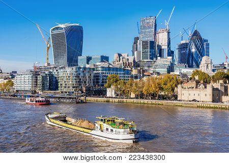 LONDON, UNITED KINGDOM - NOVEMBER 06: View of the City Of London financial district along the River Thames on November 06, 2017 in London