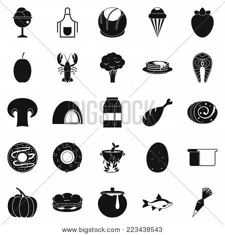 Favorite food icons set. Simple set of 25 favorite food vector icons for web isolated on white background