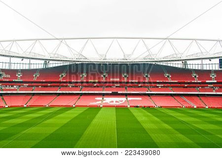 LONDON, ENGLAND - MAY 04, 2012 : Scenery of Emirate stadium, the home of Arsenal football club in London. There capacity is about 60,000 which is the third-largest football stadium in England after Wembley; national stadium and Old Trafford in Manchester.