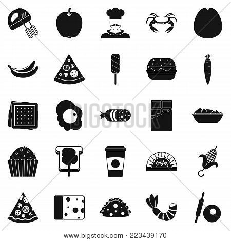 Favorite dish icons set. Simple set of 25 favorite dish vector icons for web isolated on white background