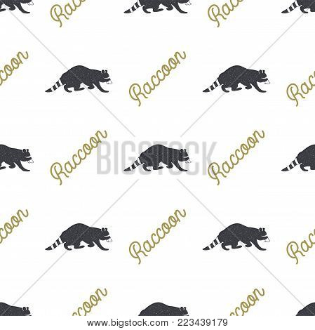 Raccoon seamless with typography sign. Wild animal wallpaper. Stock vector pattern isolated on white background. Retro colors. Vintage hand drawn design.