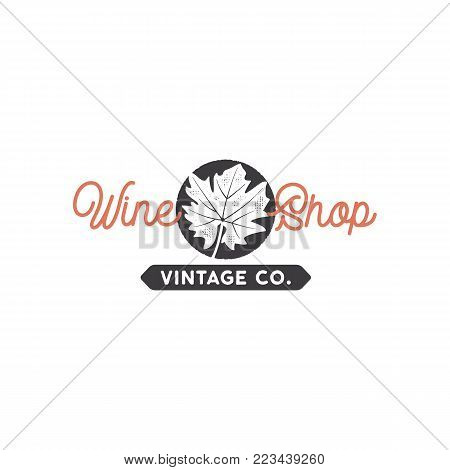 Wine shop logo template concept. Grape leaf in black circle and typography sign - wine shop. Stock vector emblem for winery, wine shop, store isolated on white background.