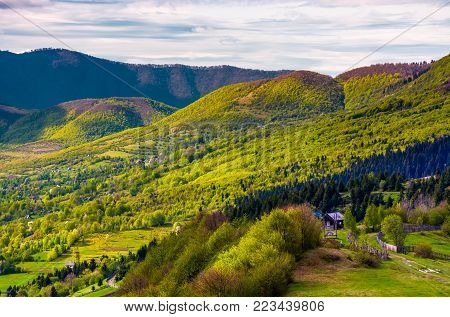 forested hills of Carpathian mountains in spring. lovely nature scenery with village in valley