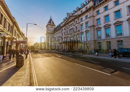 LONDON, UNITED KINGDOM - OCTOBER 31: View of the Hilton Hotel on Paddington high street in central London on October 31, 2017 in London
