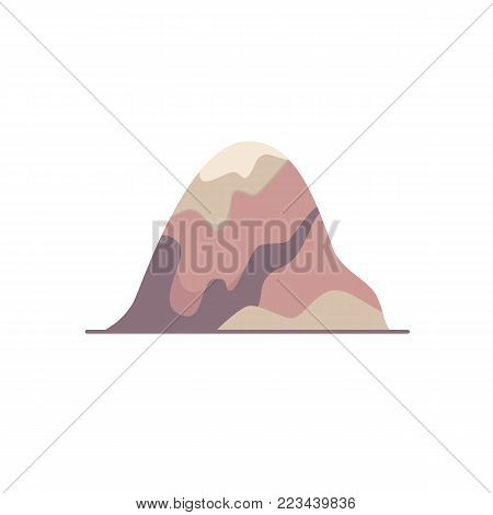 Rounded hill icon in flat style. Outline mountain symbol in round frame