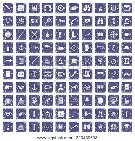 100 binoculars icons set in grunge style sapphire color isolated on white background vector illustration