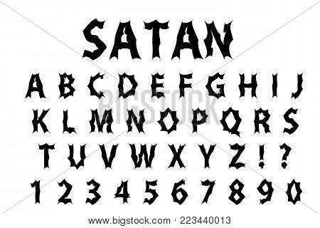 Satan typography scary font. Lettering typeface gloomy hellouvin style. Trendy alphabet rock, goth, punk Latin letters from A to Z. Isolated on white background. Vector illustration
