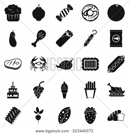 Favorite delicacy icons set. Simple set of 25 favorite delicacy vector icons for web isolated on white background