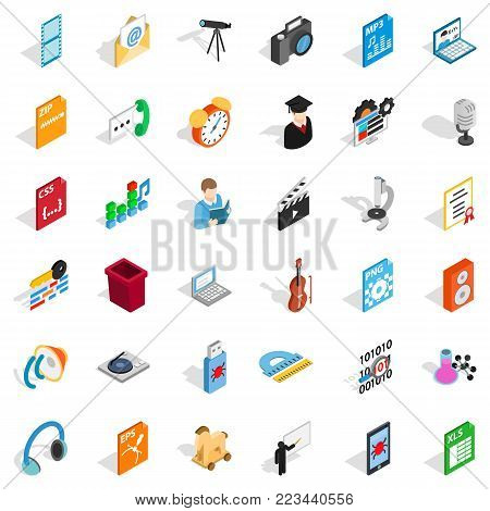 Modern mail icons set. Isometric set of 36 modern mail vector icons for web isolated on white background
