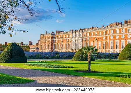 LONDON, UNITED KINGDOM - OCTOBER 28: Scenery and architecture of Hampton Court Palace, a famous and historic landmark on October 28, 2017 in London