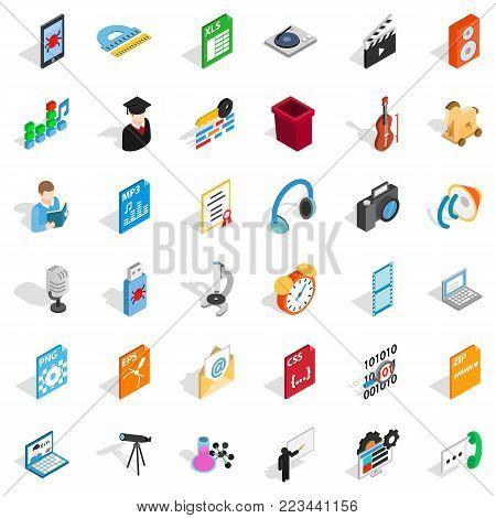 Modern post office icons set. Isometric set of 36 modern post office vector icons for web isolated on white background