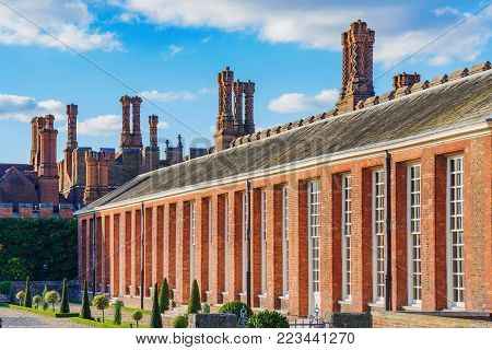 LONDON, UNITED KINGDOM - OCTOBER 28: Traditional Tudor architecture of Hampton Court Palace on October 28, 2017 in London