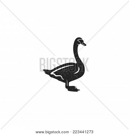 Swan silhouette shape. Vintage hand drawn wild animal icon, symbol isolated on white background. Stock vector illustration of animal. Letterpress effect.