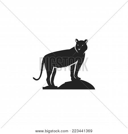 Tiger black icon. Silhouette symbol of tiger isolated on white background. Wild animal pictogram for logotype templates, badges, logo, t shits, tee designs. Stock vector illustration.