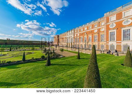 LONDON, UNITED KINGDOM - OCTOBER 27: Architecture and gardens of Hampton Court Palace, a historic palace in the Richmond area on October 27, 2017 in London