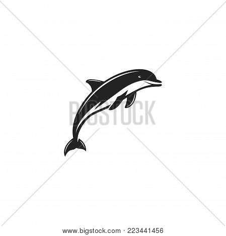 Dlphin black icon. Silhouette symbol of dolphin isolated on white background. Wild animal pictogram for logotype templates, badges, logo, t shits, tee designs. Stock vector illustration.