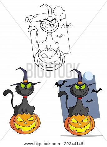 Collection of three witch cats on halloween poster