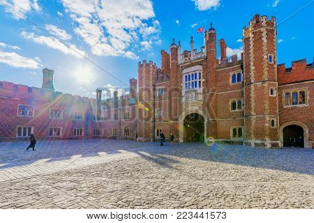 LONDON, UNITED KINGDOM - OCTOBER 27: This is the traditional architecture of Hampton Court Palace, a famous palace and historic landmark in the Richmond area on October 27, 2017 in London
