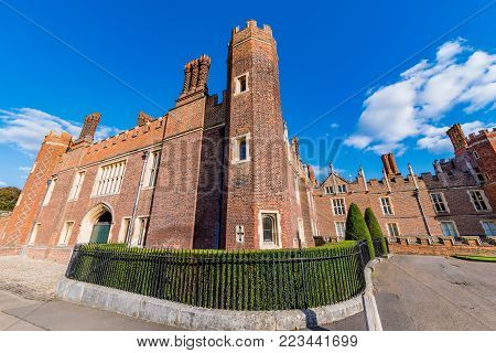 LONDON, UNITED KINGDOM - OCTOBER 27: Traditional Architecture of Hampton Court Palace a historic landmark in the Richmond area on October 27, 2017 in London