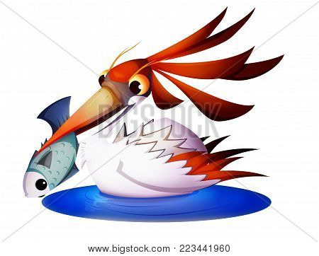 Heron holding a fish in the beak. Raster PNG illustration