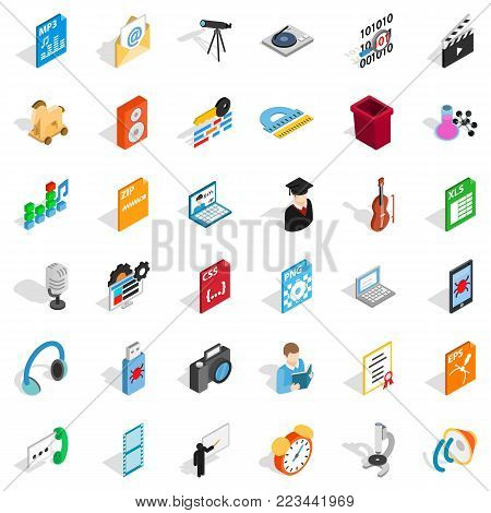 Mail equipment icons set. Isometric set of 36 mail equipment vector icons for web isolated on white background