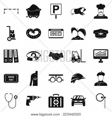 Ideal job icons set. Simple set of 25 ideal job vector icons for web isolated on white background