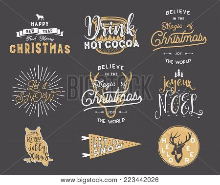 Big Merry Christmas typography quotes, wishes bundle. Sunbursts, ribbon and xmas noel elements, icons. New Year lettering, sayings, vintage labels. Seasonal greetings calligraphy. Stock vector.